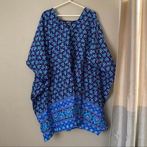Lands End Blue Dolman Drawstring Blouse Size 3X